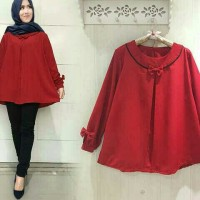 blouse merah crepe jumbo lia