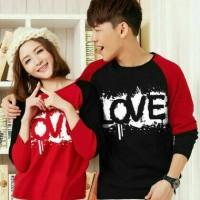 couple blouse hitam merah