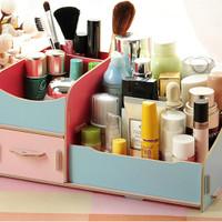 #6211 Desktop Storage Rak Kosmetik Bahan Kayu Kotak Kuas Make up Kut