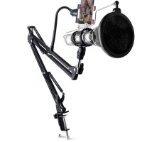 Condenser Microphone Phone Stand Holder 360 Degree Adjustable Mic