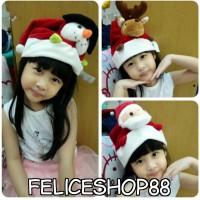 topi natal anak boneka santa,rusa dan snow