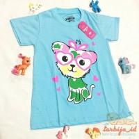 Oshkosh Top Girl Warna Biru Tosca Motif Cute Cat untuk Anak 4th