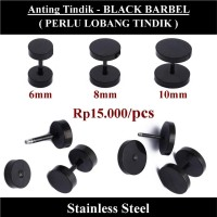 Anting Tindik Cowok Pria - Black Barbel