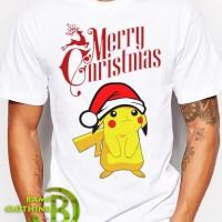 Kaos Cowok / Cewek - T Shirt - Kaos Merry Christmas Pokemon