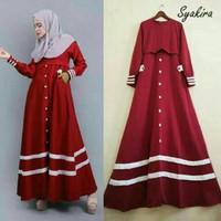 PROMO,MURAH,BARU Syakira Long dress Maroon (tanpa Phasmina)