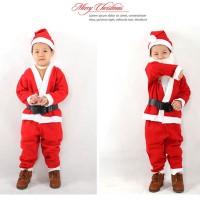 baju Kostum santa claus 1set lengkap untuk anak laki-laki 1-14y