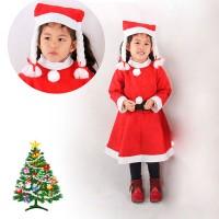 baju Kostum santa claus 1set lengkap u anak perempuan lengan panjang