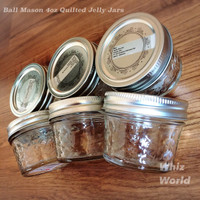 Original Ball Mason 4oz Quilted Jelly Jars Toples Kaca Made in USA