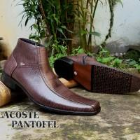 Sepatu lacoste pantofel kulit warna brown pilihan kerja kantor pria