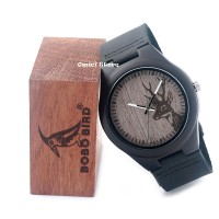 Deer Engraved Black Wood Watch/ Jam Bambu/ Bukan Kayu/ Bukan Matoa