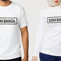 TUMBLR TEE COUPLE (WANITA LENGAN PANJANG) SUDAH BAHAGIA WARNA PUTIH