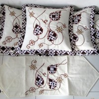 Sarung Bantal Kursi Batik Bordir Daun (Isi 6 pcs SBK & 1 Taplak Meja)
