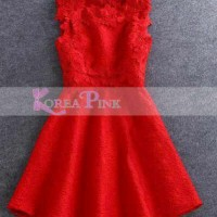 dress anak merah bordir korea pink import