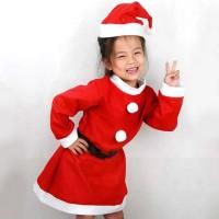 KOSTUM SANTA NATAL ANAK PEREMPUAN FLANEL CHRISTMAS COSTUME GIRL