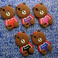 OPPO F1 F1f 3D Line Brown Bear Soft Casing Case Silikon Karakter Lucu