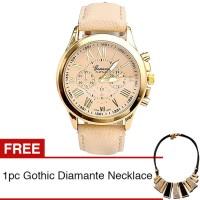 ace Geneva Jam Tangan Wanita Leather Watch - Beige + Gratis 1pc