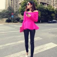 Pink Fuchsia Magenta Peplum Blouse Baju Pakaian Atasan Wanita IMPORT