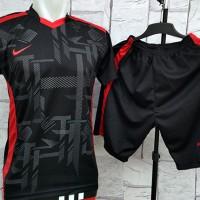 Setelan Kaos Futsal-Bola Nike Blackwork Merah Grosir & Ecer Terbaru