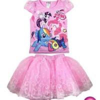 Baju Fashion Anak Cewek Perempuan Setelan Rok My Little Pony Pink