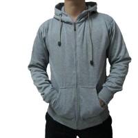 Jaket Polos Pria/Wanita Grey Zipper Hoodie