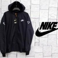 Jaket Parasut Nike Full Hitam (Hoodie-Sport-Murah-Black-Distro) 2017