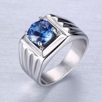 Cincin Pria Titanium Steel 316 Batu Blue Sapphire AAA+cubic Zircon