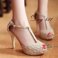 Sepatu Wanita Murah - High Heels T-Strap Brukat Krem NFZ