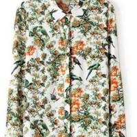 Flower & Bird Print Blouse Import (size S)
