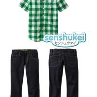 Baju Anak - Dark Green Plaid Set (BO-472)