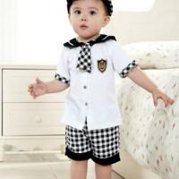 Baju Anak - White Plaid Set (BO-473)