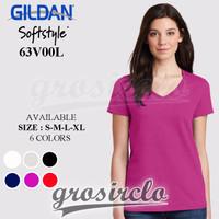 GROSIR MURAH Kaos Polos Gildan V Neck Ladies Cewek 63V00L Import Origi