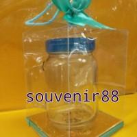 souvenir pernikahan gelas jar tutup plastik dikemas mika