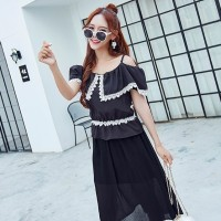 Murah! Atasan Off-The-Shoulder Berenda + Rok Panjang Modis Hitam