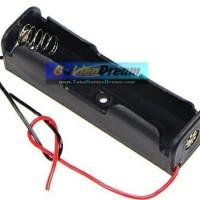 1x 18650 Battery Holder Baterai Case Batere Box Kotak Batre Dengan Kabel