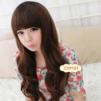 Wig Panjang Curly - Dark Brown Long Curly C09101