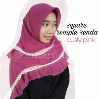 Hijab Jilbab Segiempat Square Rempel Renda Dusty Pink