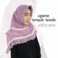Hijab Jilbab Segiempat Square Rempel Renda Soft Purple