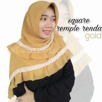 Hijab Jilbab Segiempat Square Rempel Renda Gold