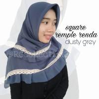 Hijab Jilbab Segiempat Square Rempel Renda Dusty Grey