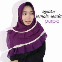 Hijab Jilbab Segiempat Square Rempel Renda Purple