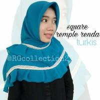 Hijab Jilbab Segiempat Square Rempel Renda Turkis