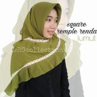 Hijab Jilbab Segiempat Square Rempel Renda Lumut