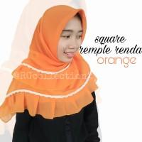 Hijab Jilbab Segiempat Square Rempel Renda Orange