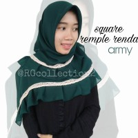 Hijab jilbab Segiempat Square Rempel Renda Army