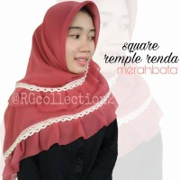 Hijab Jilbab Segiempat Square Rempel Renda Merah Bata