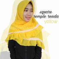 Hijab Jilbab Segiempat Square Rempel Renda Yellow