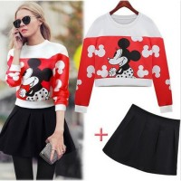 Mickey Mouse Cute Lovely Sweater & Skirt School Rok & Blouse IMPORT