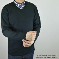 Sweater Fleece Pria   Sweater Rajut Pria   Swater V-neck   Hitam Keren