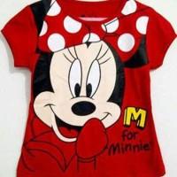 atasan anak perempuan / baju karakter mickey mouse merah size 1-6