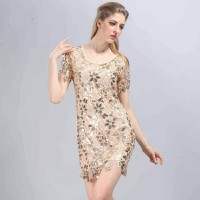 Lace Crochet Embroidery Sequin Gold Dress IMPORT